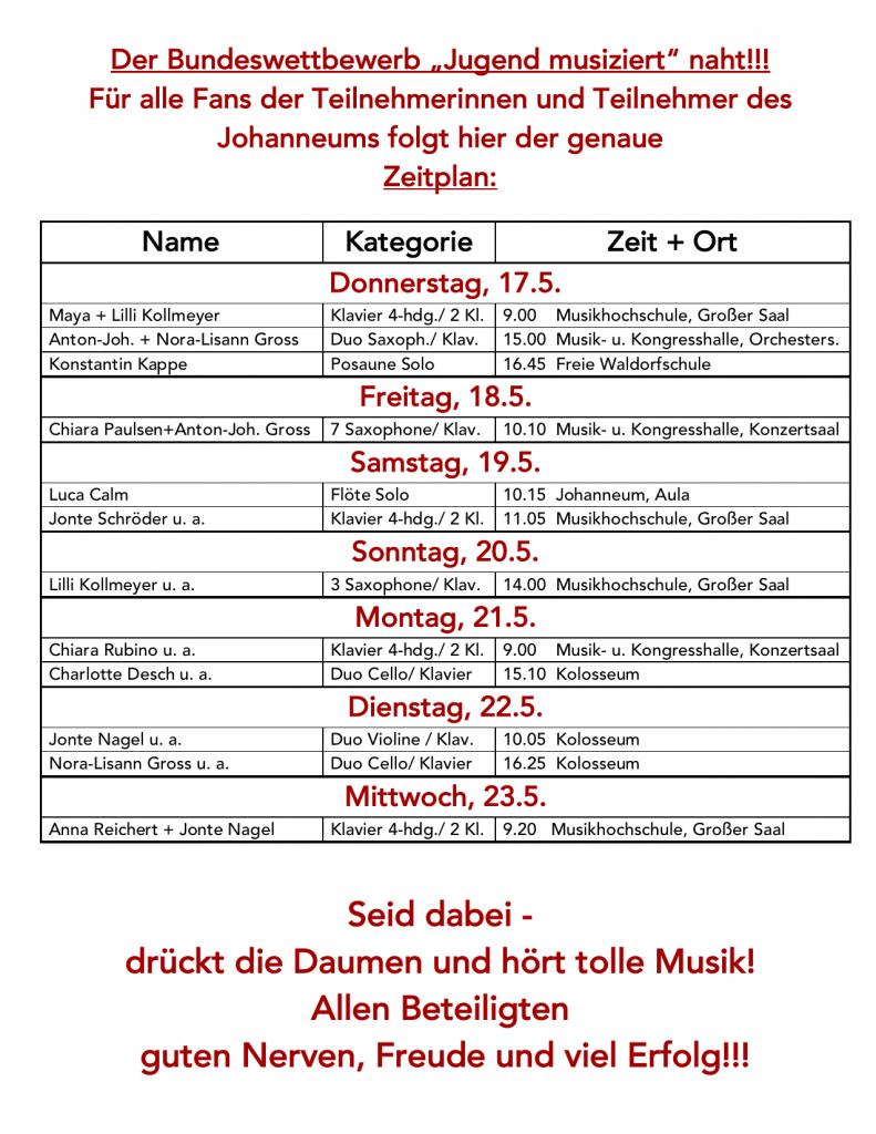 BW Lübeck Zeitplan